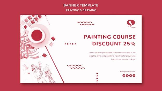 Cursos para desenho e pintura de modelo de banner