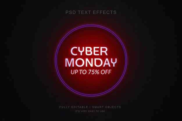 Cyber monday banner e photoshop néon efeito de texto
