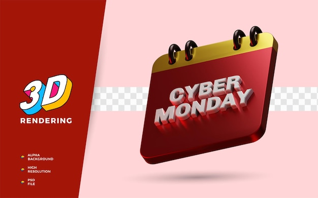 Cyber monday evento dia de compras com desconto no festival ilustração em 3d do objeto render
