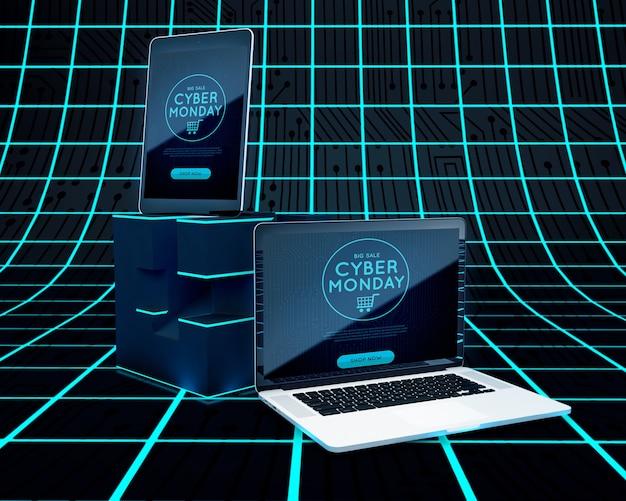 Cyber segunda-feira alta tecnologia venda de dispositivos eletrônicos