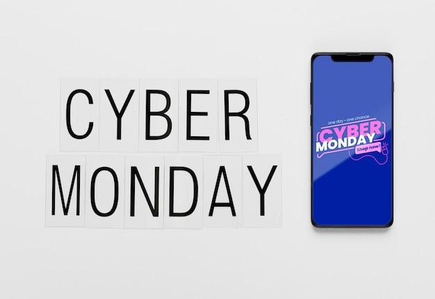 Cyber segunda-feira conceito smartphone mock-up