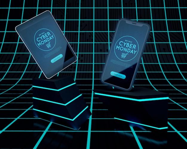 Cyber segunda-feira design venda de dispositivos eletrônicos