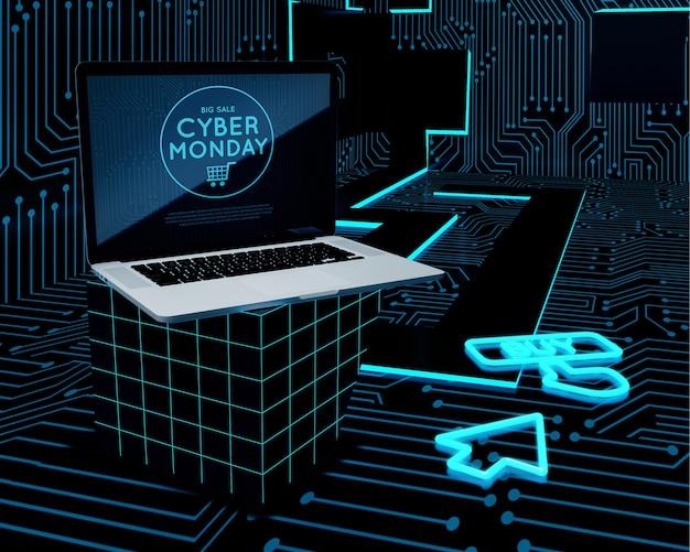 Cyber segunda-feira oferta de venda de laptop