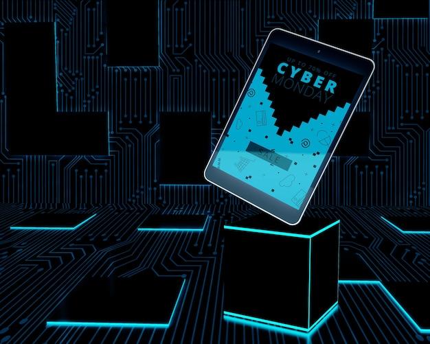 Cyber segunda-feira tablet definido no cubo de néon