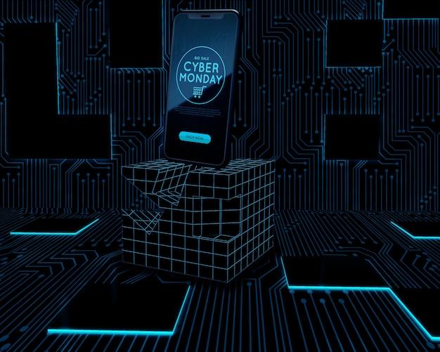 Cyber segunda-feira telefone definido no cubo de néon