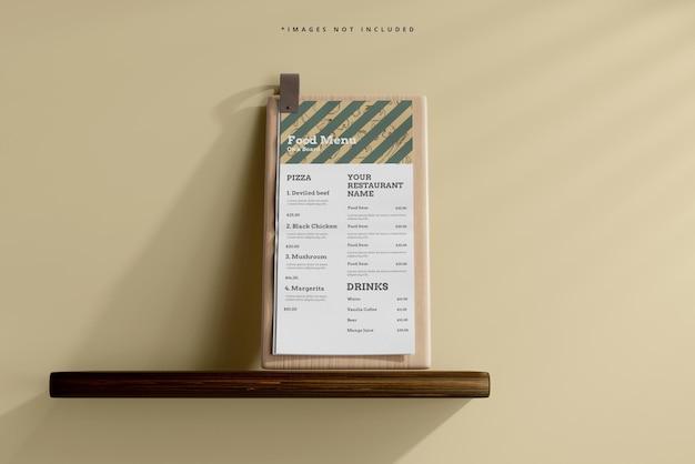 D menu de comida em uma maquete de tábua de madeira