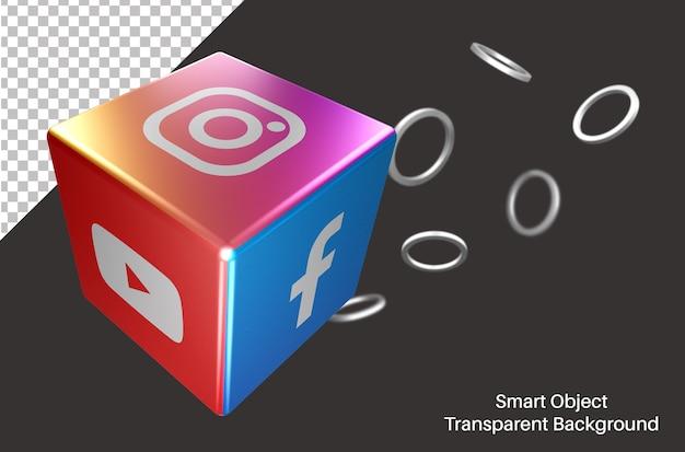 Dados 3d com logotipo de mídia social instagram