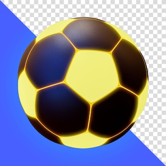 Dark glow soccer ball 3d render isolado