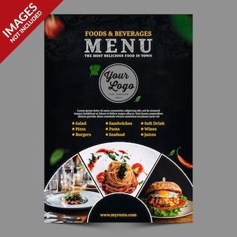 Dark vintage restaurant food beverages menu premium psd templat