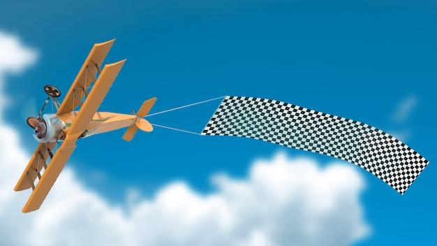 De cabeça para baixo avião com maquete de banner psd