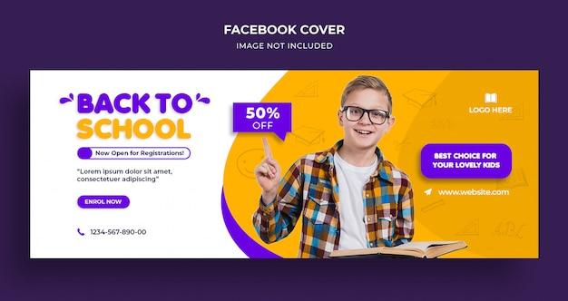 De volta à escola, capa do cronograma do facebook e modelo da web