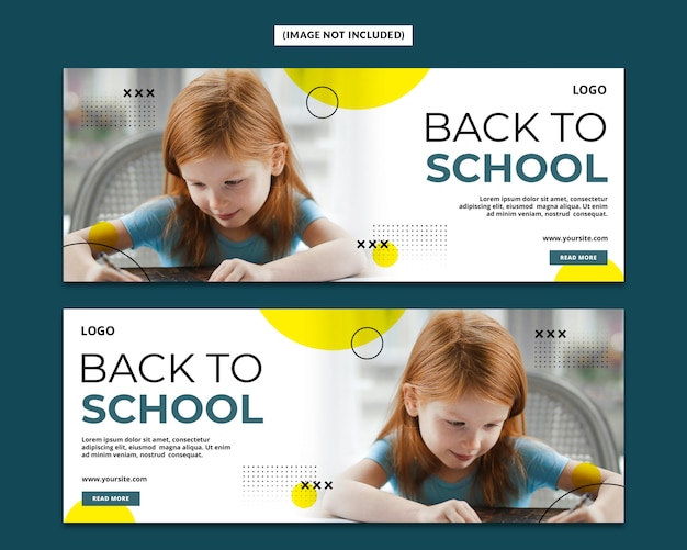 De volta à escola, capa do facebook, modelo de página psd