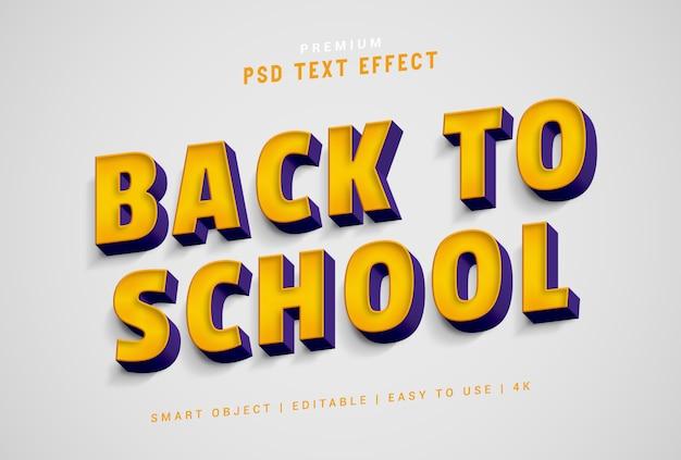 De volta à escola psd de efeito de texto gerador premium