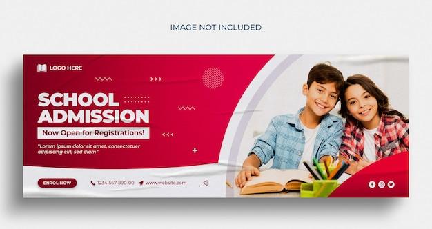 De volta às aulas, capa do cronograma do facebook e modelo de banner da web