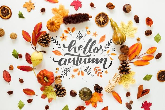 Decoração colorida de folhas secas de outono