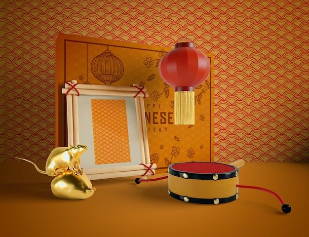 Decoração de ano novo chinês com mock-up