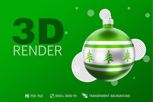 Decoração de árvore de natal em uma bola de natal realista renderização 3d com fundo verde metálico isolado