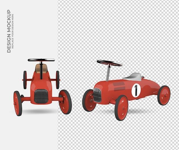 Decoração de carro de brinquedo em maquete de renderização