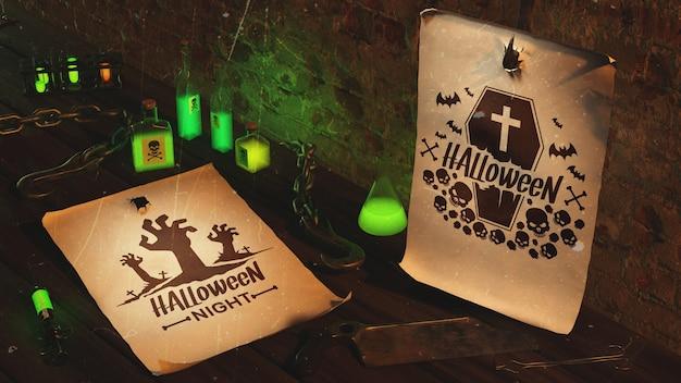 Decoração de halloween assustador de alto ângulo