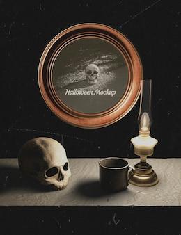 Decoração de halloween e moldura redonda com caveira