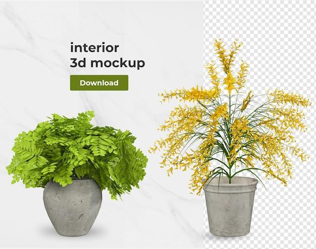 Decoração de interiores de flores em renderização 3d