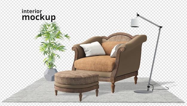 Decoração de interiores em renderização 3d