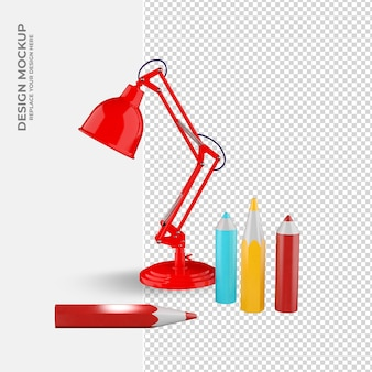 Decoração de lâmpada e lápis em maquete de renderização