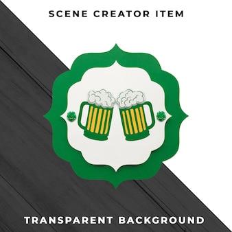 Decoração de papel cerveja isolada com traçado de recorte.