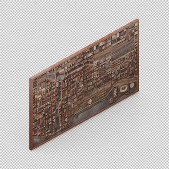 Decoração de parede isométrica 3d isolado render