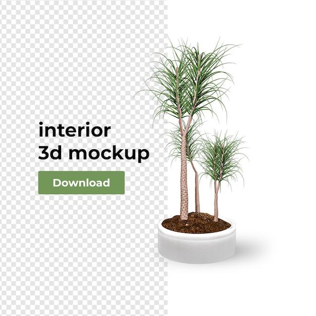 Decoração de planta em vaso em renderização 3d
