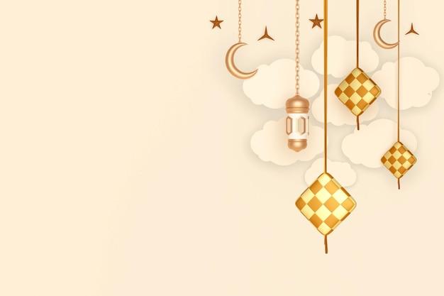 Decoração de tela islâmica com lanterna de meia-lua de ketupat e nuvem