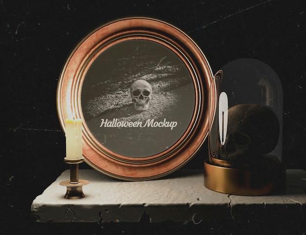 Decoração escura com moldura redonda de halloween e crânio