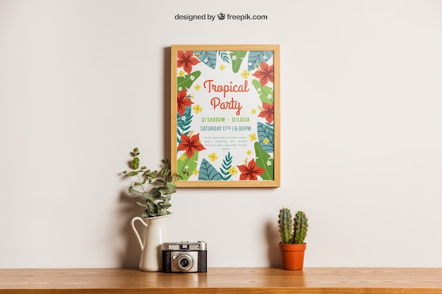 Decoração floral de mockup de quadro