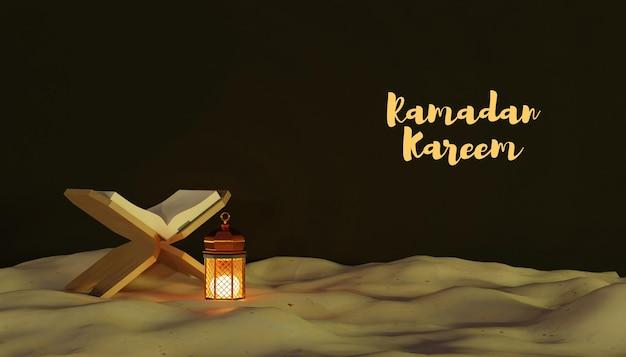 Decoração kareem do ramadã 3d com lâmpada e areia