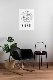 Decoração minimalista e moderna e pôster de mock-up
