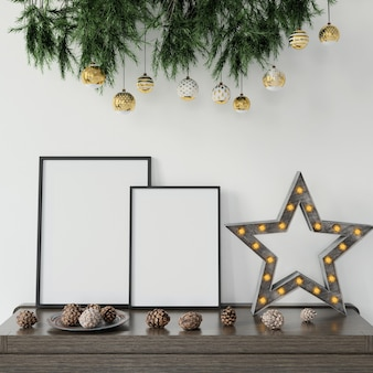 Decorações de natal em cima da mesa