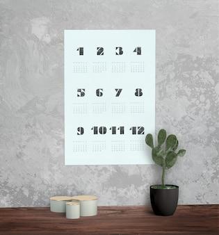 Decorativo mock up calendário na parede