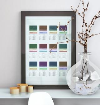 Decorativo simulado acima do calendário emoldurado