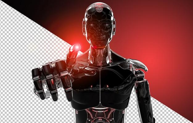 Dedo apontando robô inteligente preto e vermelho