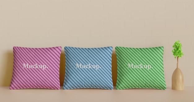 Definir maquete de travesseiro ou almofada com vaso de plantas
