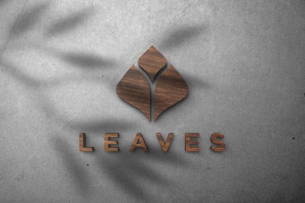 Deixa logotipo maquete - efeito de madeira maquete logotipo 3d em uma parede branca