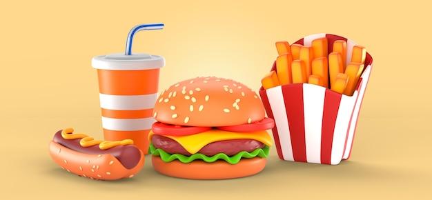 Deliciosa maquete de renderização de fast food