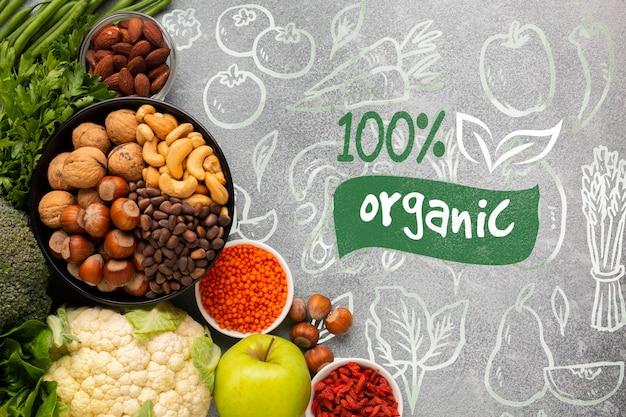 Deliciosa mistura saudável de especiarias e vegetais vista superior