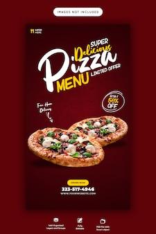Delicioso menu de vendas de comida instagram e modelo de história do facebook