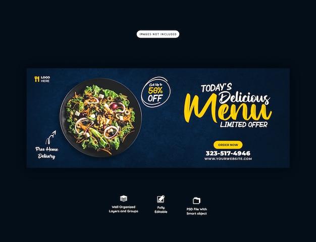Delicioso menu de vendas de comida modelo de capa do facebook