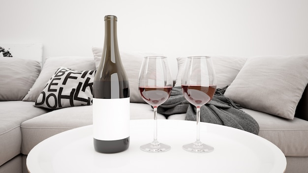 Delicioso vinho tinto em uma maquete moderna sala de estar