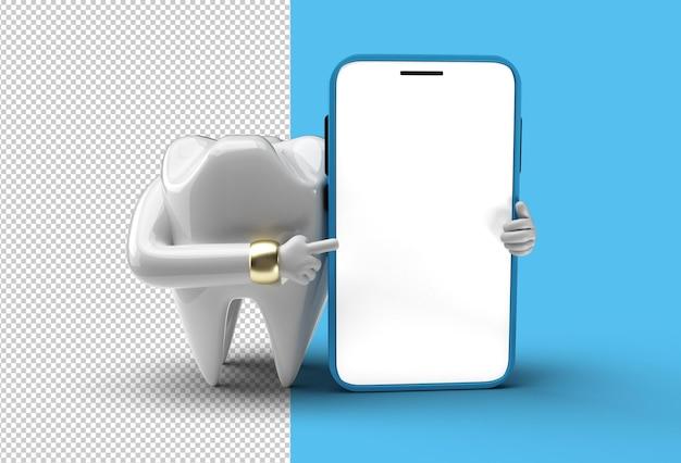 Dente dentário com arquivo psd transparente de maquete móvel de tela em branco.