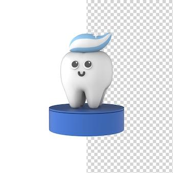 Dente feliz bonito dos desenhos animados com pasta de dente 3d render modelo isolado fundo azul odontologia moderna
