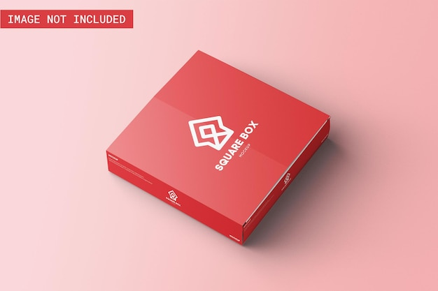 Deposição de maquete de embalagem de caixa quadrada no chão