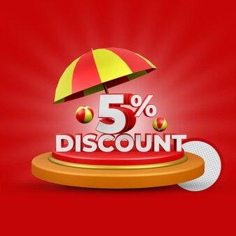 Desconto de 5% no verão, oferta renderização 3d isolada premium psd